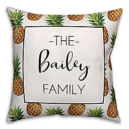 Designs Direct Pineapple Pattern Monogram Indoor/Outdoor Square Pillow