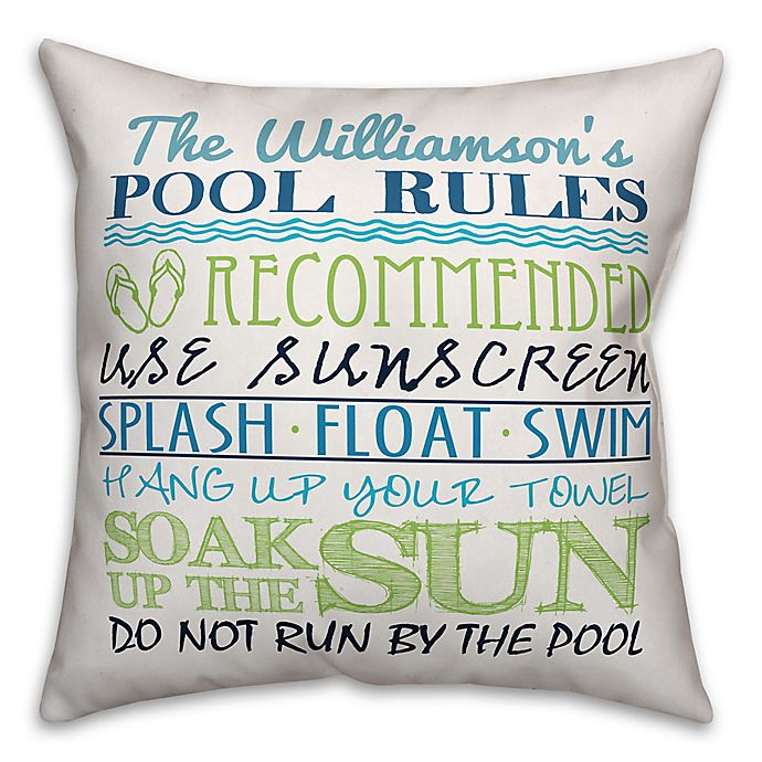 Alternate image 1 for Designs Direct Pool Rules Indoor/Outdoor Square Pillow