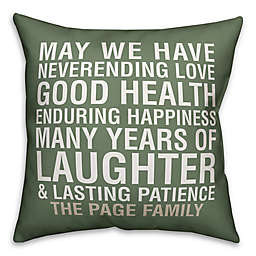 Designs Direct Family Blessing Indoor/Outdoor Square Throw Pillow