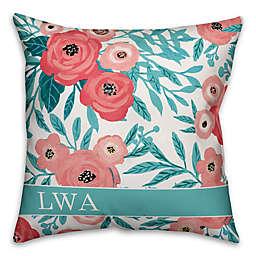 Designs Direct Painted Florals Monogram Indoor/Outdoor Square Pillow