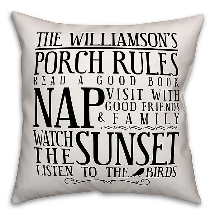 Alternate image 1 for Designs Direct Porch Rules Indoor/Outdoor Square Pillow