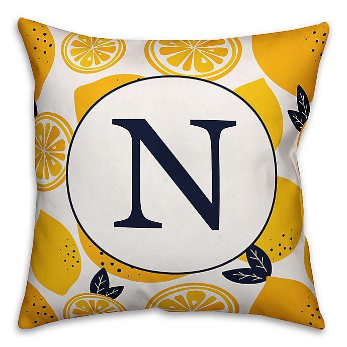 Alternate image 1 for Designs Direct Lemon Monogram Indoor/Outdoor Square Pillow