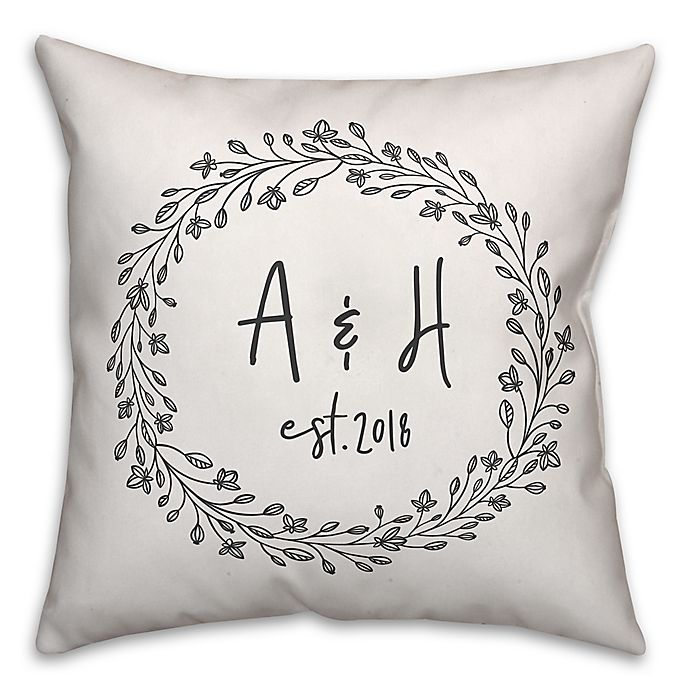 Alternate image 1 for Designs Direct Delicate Wreath Indoor/Outdoor Square Throw Pillow