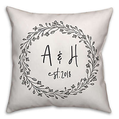 Designs Direct Delicate Wreath Indoor/Outdoor Square Throw Pillow