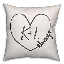 Designs Direct Heart Initials Indoor/Outdoor Square Pillow