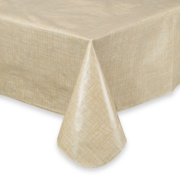Alternate image 1 for Monterey 70-Inch Round Vinyl Tablecloth in Natural