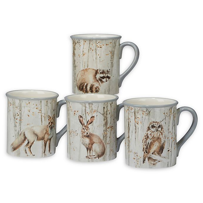 Alternate image 1 for Certified International A Woodland Walk Mugs (Set of 4)