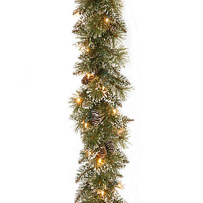 Winter Wonderland 6-Foot Pre-Lit Glittery Bristle Pine Garland (Set of 2)