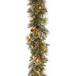 Winter Wonderland 6-Foot Pre-Lit Glittery Bristle Pine Garland (Set of 2