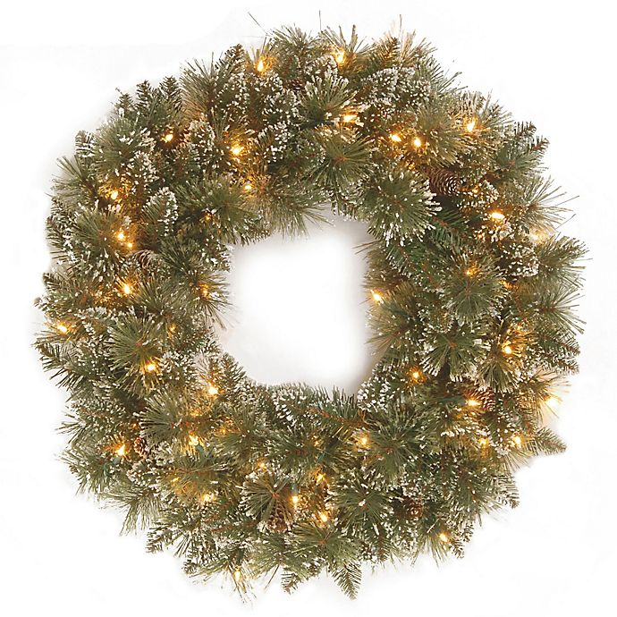 Alternate image 1 for Winter Wonderland 24-Inch Pre-Lit Glittery Bristle Pine Wreath