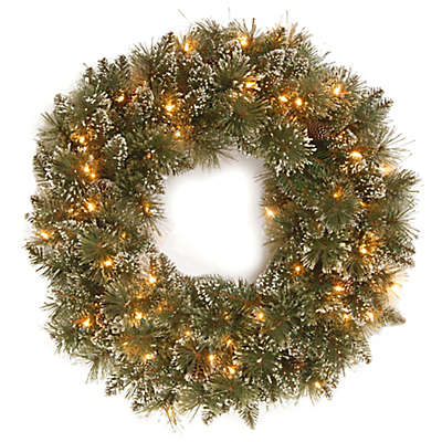 24-Inch Pre-Lit Glittery Bristle Pine Wreath in Green