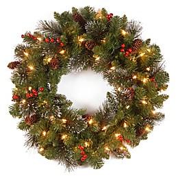 24-Inch Pre-Lit Crestwood Spruce Wreath