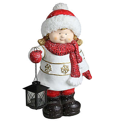 Northlight® 16.5-Inch Christmas Morning Girl Holding Tealight Lantern