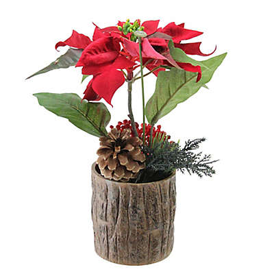 Northlight® 10-Inch Artificial Poinsettia with Pine Cone & Berries Potted Plant