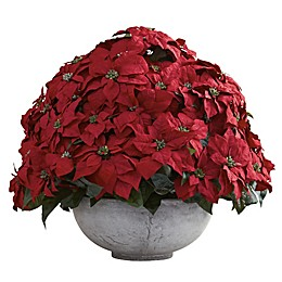 Nearly Natural 29.75-Inch Poinsettia with Decorative Planter