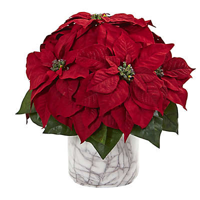 Nearly Natural 15-Inch Poinsettia with Decorative Vase