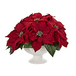 Nearly Natural 13-Inch Poinsettia with Decorative Urn