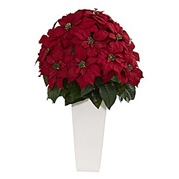 Nearly Natural 32-Inch Artificial Poinsettia Plant in White Planter