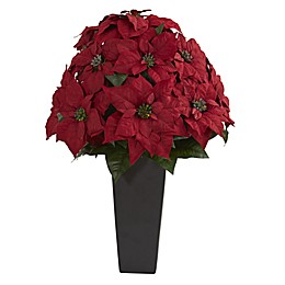 Nearly Natural 27-Inch Artificial Poinsettia Plant in Black Vessel Planter
