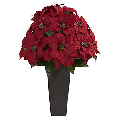 Nearly Natural 27-Inch Artificial Poinsettia Plant in Black Vessel Planter