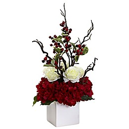 Nearly Natural 23.5-Inch Holiday Cheers Arrangement with Vase