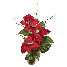 Nearly Natural 22-Inch Poinsettia with Fluted Vase