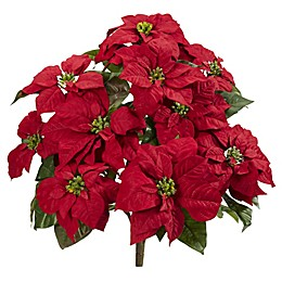 Nearly Natural 24-Inch Poinsettia Artificial Plant (Set of 2)