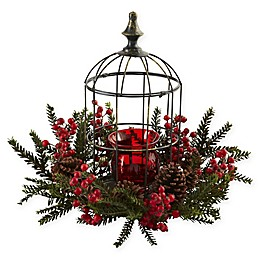 Nearly Natural 15-Inch Pine Berry Birdhouse Candelabrum