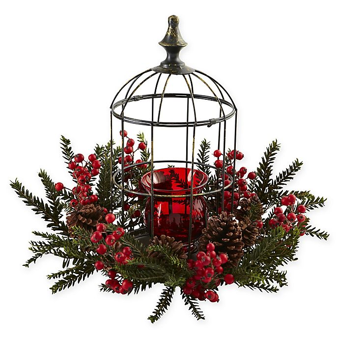 Alternate image 1 for Nearly Natural 15-Inch Pine Berry Birdhouse Candelabrum