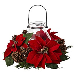 Nearly Natural Pine Cone and Poinsettia Holiday Candelabrum