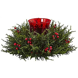 Nearly Natural 6.5-Inch Cedar Berry Candelabrum