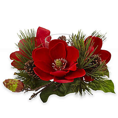 Nearly Natural 17.5-Inch Red Magnolia & Pine Candelabrum