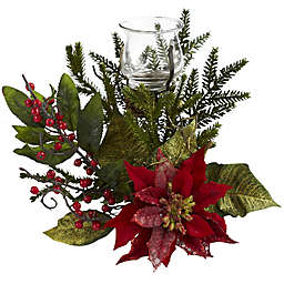 Nearly Natural 11-Inch Poinsettia Candelabrum
