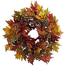 Nearly Natural 24-Inch Artificial Maple and Berry Wreath