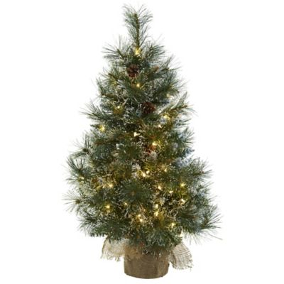 Nearly Natural 3 Foot Pre Lit Frosted Christmas Tree Bed