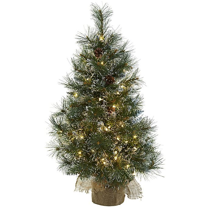 Nearly Natural 3-Foot Pre-Lit Frosted Christmas Tree | Bed ...