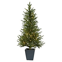 Nearly Natural 4.5-Foot Pre-Lit Christmas Tree with Planter