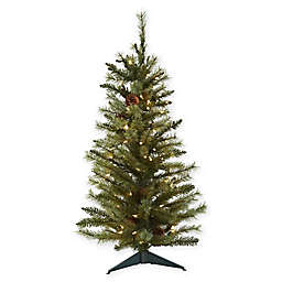 Nearly Natural 3-Foot Pre-Lit Christmas Tree with Pine Cones