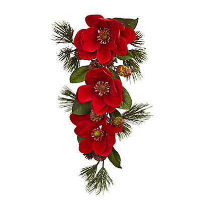 Nearly Natural 26-Inch Red Magnolia and Pine Tear Drop