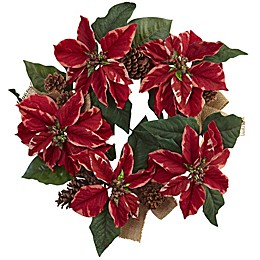 Nearly Natural 22-Inch Poinsettia, Pine Cone & Burlap Wreath