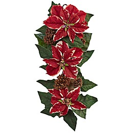 Nearly Natural 25-Inch Poinsettia, Pine Cone & Burlap Teardrop