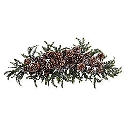 Nearly Natural 28-Inch Iced Pine Cone Swag