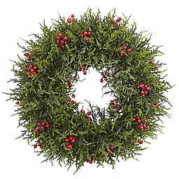 Nearly Natural 20-Inch Cedar Berry Artificial Christmas Wreath