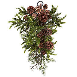 Nearly Natural 26-Inch Pine and Pine Cone Teardrop