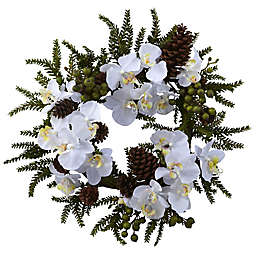 Nearly Natural 22-Inch Phalaenopsis and Pine Wreath