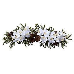 Nearly Natural 30-Inch Phalaenopsis Orchid and Pine Swag