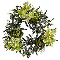 Nearly Natural 22-Inch Iced Cymbidium and Artichoke Wreath