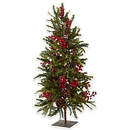 Nearly Natural 3-Foot Pine & Berry Christmas Tree