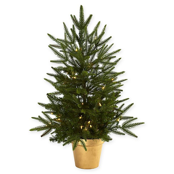 Alternate image 1 for Nearly Natural 2.5-Foot Pre-Lit Christmas Tree with Gold Planter