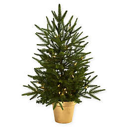 Nearly Natural 2.5-Foot Pre-Lit Christmas Tree with Gold Planter